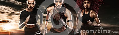 A strong athletic, women sprinter, running on dark background wearing in the sportswear, fitness and sport motivation