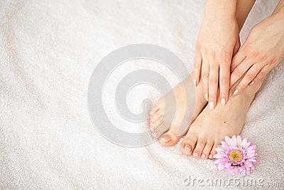 Hand and Nail Care. Beautiful Women`s Feet and Hands After Manicure and Pedicure at Beauty Salon. Spa Manicure.