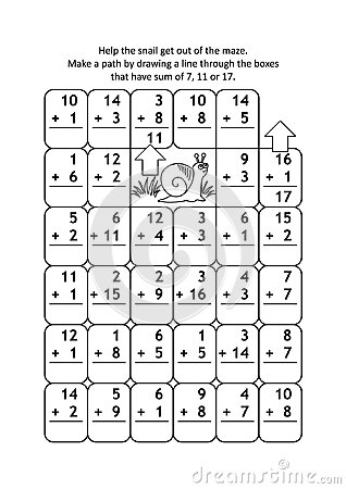 Math maze with addition facts for numbers up to 20