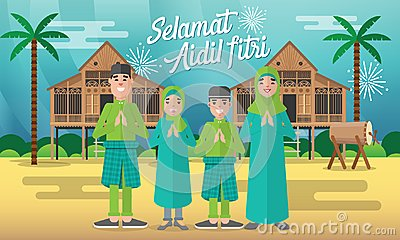 Happy moslem family celebrate for aidil fitri with with traditional malay village house/Kampung and drum on background