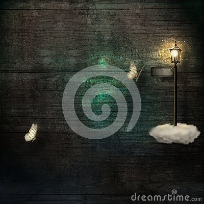 Grunge background with paper butterflies and magical lamppost