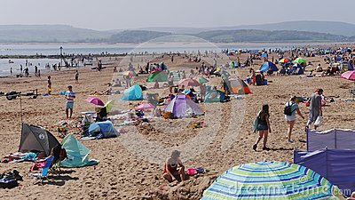 Exmouth. A popular seaside resort in Devon. South West England.Crowds flock to the beach on May Bank Holiday Sunday 2018
