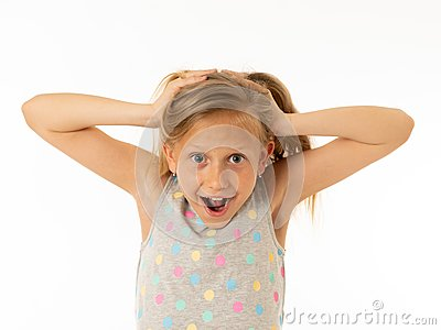 stock image of portrait of young beautiful happy, shocked,surprised girl. human emotions and facial expression