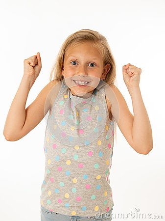 stock image of portrait of a beautiful happy, successful girl celebrating victory. human emotions facial expression