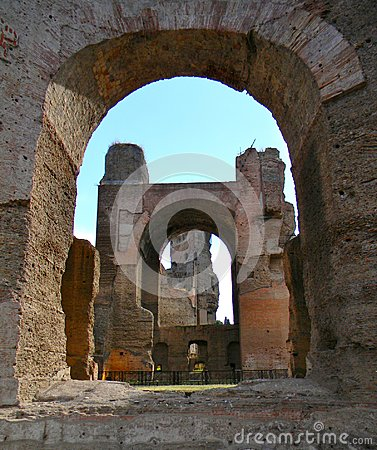 Ancient archs at the terme di caracalla in Rome