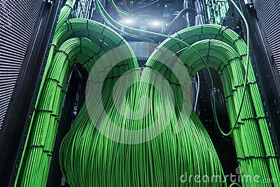 Acoustic audio cable server. Green audio cable. Many acoustic cables. Сoaxial cable for data transmission server. Close up