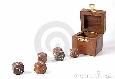 Wooden dice and box