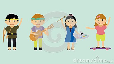 stock image of illustration of children with various hobbies and activities