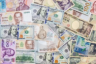 Various international foreign currency banknotes background. International trade, money cross border concept
