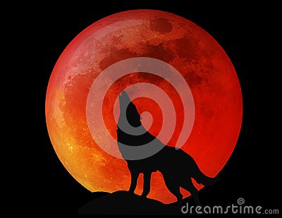 Halloween Full Moon Wolf Blood Red