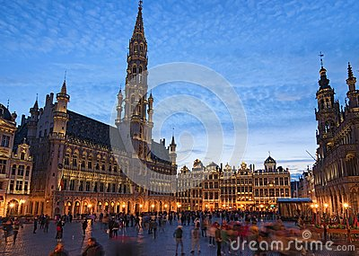 The Grand place Grote Markt is the central square of medieval Brussels. Beautiful view during sunset at spring