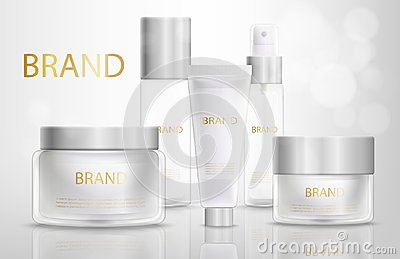 Beauty Products Containers Realistic Vector Set