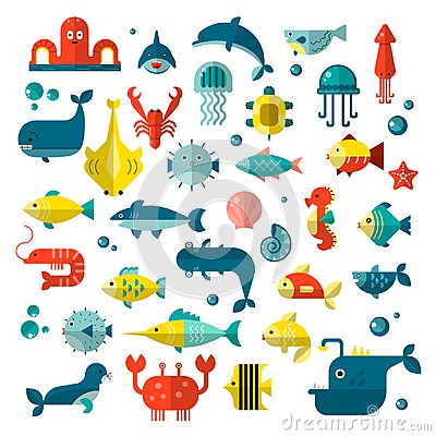 Set of vector flat sealife elements, plants and sea animals - shark, jellyfish, octopus and others. Collection of modern