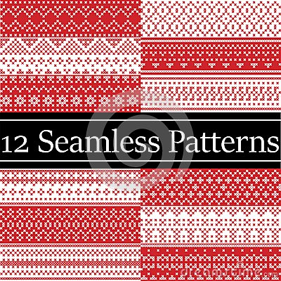 12 Nordic style vector patterns inspired by Scandinavian Christmas, festive winter seamless pattern in cross stitch with heart