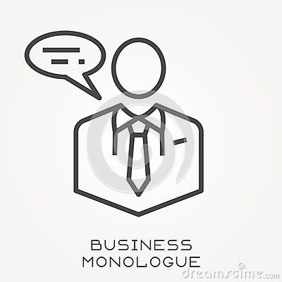 Flat vector icons with business monologue