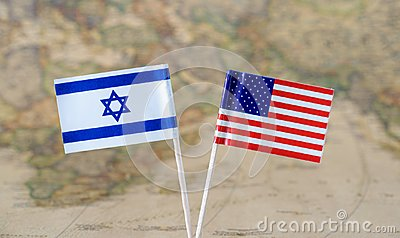 The United States of America and Israel flag pins on a world map background, political relations concept