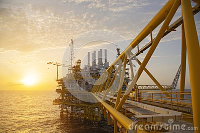 stock image of offshore construction platform for production oil and gas. oil and gas industry and hard work. production platform and operation
