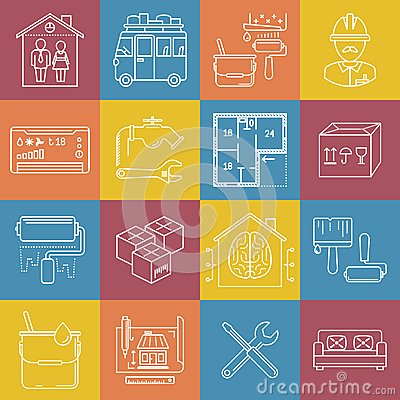 Housing and movement lineart minimal vector iconset on multicolor checkered texture