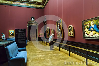 Visitors in the Raffael Hall of Kunsthistorisches Museum, Vienna