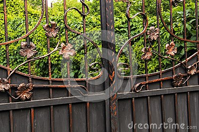 Metal gates decorated with forged elements