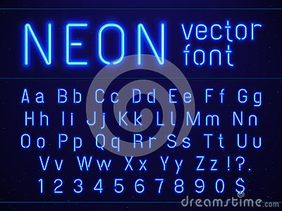 Bright glowing blue neon alphabet letters and numbers font. Nightlife entertainments, modern bars, casino illuminated