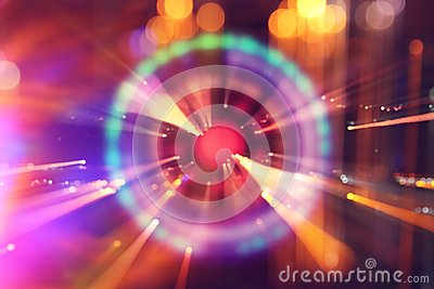 stock image of abstract science fiction futuristic background . lens flare. concept image of space or time travel over bright lights