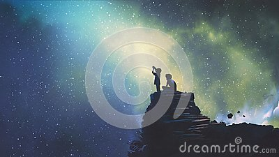 Two brothers looking at stars