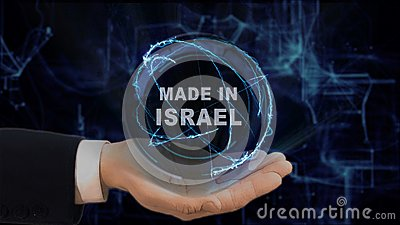 Painted hand shows concept hologram Made in Israel his hand