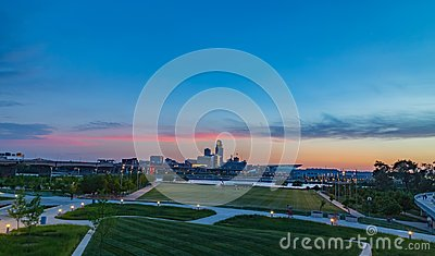 Downtown Omaha at dusk as the sun sets as seen from Council Bluff