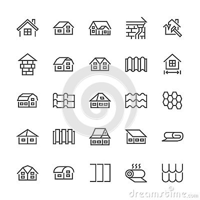 Roofing flat line icons. House construction, roofs sheathing varieties, tile, chimney, insulation architecture