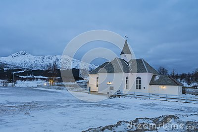The Hol Church near Leknes, Lofoten Norway