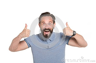 Two Thumbs up by both hands. Emotional man with two thumbs up isolated on white background. Excited bearded guy happy face emotion