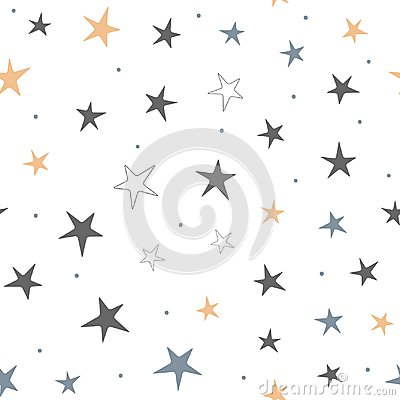 Repeated stars and round dots. Starry seamless pattern for children.