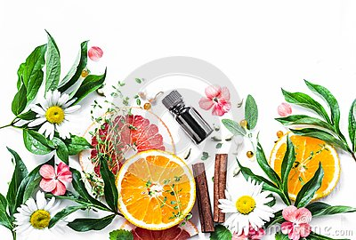 stock image of essential oil for beauty skin. flat lay beauty ingredients on a light background, top view. beauty healthy lifestyle concept
