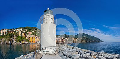 Panoramic view of city of Camogli with the lighthouse, Genoa Province, Liguria, Mediterranean coast, Italy