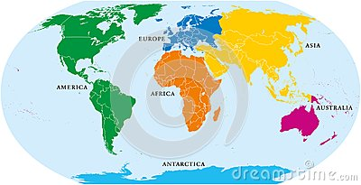 Six continents world, political map