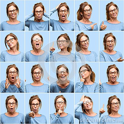 stock image of middle age woman, different emotions collage over blue background