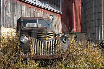 Old Vintage Farm Truck by Barn