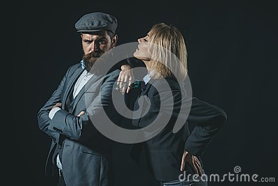 Couple detective investigator partners. Partnership clever cunning reporter investigator. Couple dressed formal old