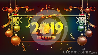 Vector illustration of happy new year 2019 wallpaper gold and black colors place for text christmas balls