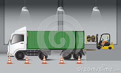 Logistics warehouse and loading dock, rubber wheels transportation and supply, Industrial scene