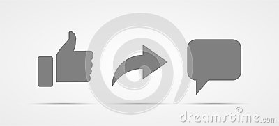 Set of vector like share comment media social icon