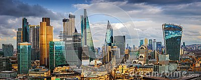London, England - Panoramic skyline view of Bank and Canary Wharf, central London`s leading financial districts