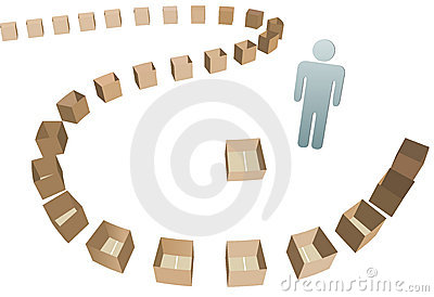 Shipper Shipping line of empty boxes
