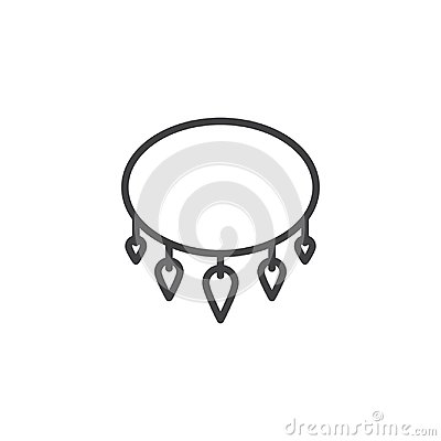 Necklace with shark tooth outline icon