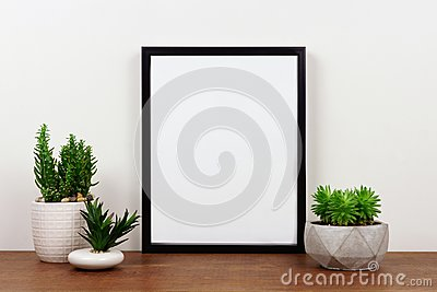Mock up black frame against white wall with succulent plants on a wood shelf