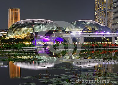 Night scenery of the brightly lit Esplanade Theatres on the Bay at Marina Bay Singapore