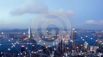 stock image of smart city and internet of things, wireless communication network