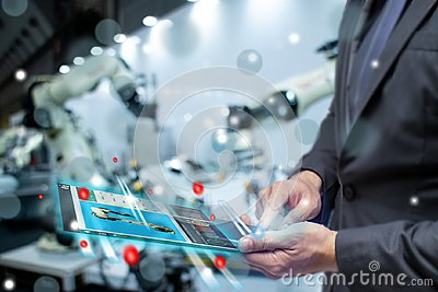 Iot internet or intelligence of things in industrial concept, business or engineer use augmented mixed virtual reality to control