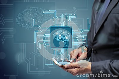 Business man or engineer use ai or artificial intelligent concept,Cloud computing, data mining, machine learning, neural networks